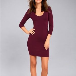 Aritzia Burgundy Maroon Bodycon Long Sleeve Dress